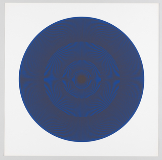 Four graduating concentric circles of radial lines like spokes of a wheel; blue background overprinted in slate brown on white ground.