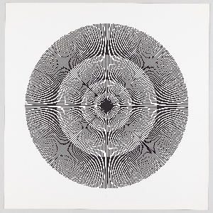 Four graduating concentric circles of radial lines like spokes of a wheel; black printed on white ground.