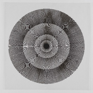 Four graduating concentric circles of radial lines like spokes of a wheel; black printed on clear ground.