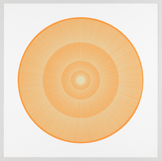 Four graduating concentric circles of radial lines like spokes of a wheel; orange background overprinted in light yellow on white ground.