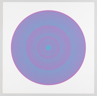 Four graduating concentric circles of radial lines like spokes of a wheel; magenta background overprinted in turquoise on white ground.