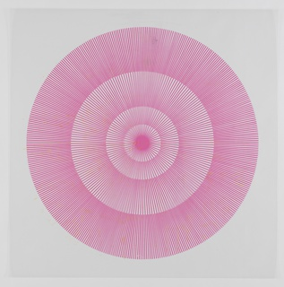 Four graduating concentric circles of radial lines like spokes of a wheel; magenta printed on clear ground.