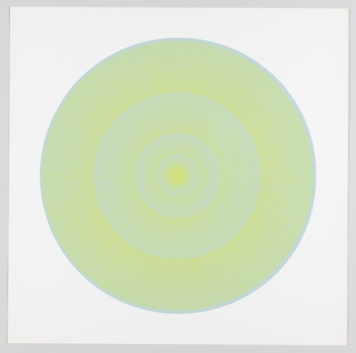Four graduating concentric circles of radial lines like spokes of a wheel; light blue background overprinted in chartreuse on white ground.