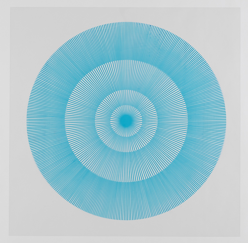 Four graduating concentric circles of radial lines like spokes of a wheel; turquoise printed on clear ground.