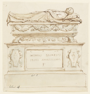 A sculpted figure of a dead man is lying on top of a sarcophagus which is decorated with festoons and the tools of an architect. A pedestal is beneath, showing a tablet with the inscription: DOM / FILIPPUS LOVATIVS / FILIVS AMATISSIMUS / P between two coats of arms.