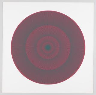 "Print, ""dark green over scarlet"", Plate 1 ""Color / Moire"" Portfolio"