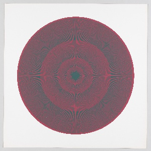 Four graduating concentric circles of radial lines like spokes of a wheel; scarlet background overprinted in dark green on white ground.