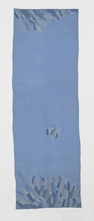 Pattern of freely designed feathers embroidered at ends in shades of blue, brown and white on light blue cotton.