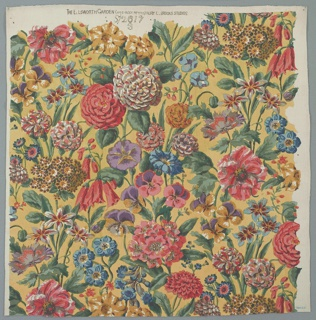 Naturalistic floral printed in shades of blue, green, yellow, and pink on a pale yellow field. Upper margin printed with the title, design number, and printer.