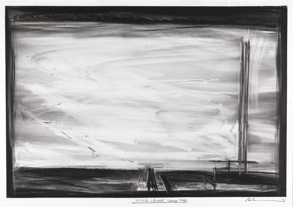 "Large charcoal drawing of the stage for ""King Lear"" scene two. The stage itself is black, and the backdrop is white and gray. At right, a tall, straight-backed chair. In center, extending from backdrop to front of stage, is a long, flat bed."
