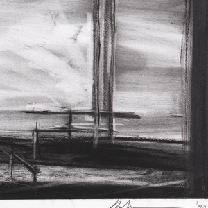 """Large charcoal drawing of the stage for """"King Lear"""" scene two. The stage itself is black, and the backdrop is white and gray. At right, a tall, straight-backed chair. In center, extending from backdrop to front of stage, is a long, flat bed."""