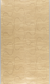 On a mottled tan background having the appearance of varnished leather a stitched serpentine pattern repeats four times across the width.