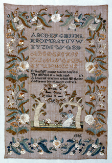 A wide border of naturalistic flowers enclosing two sets of alphabets, a verse, a cartouche with an inscription, and a scene of a woman seated under trees.  The verse reads:  Friendship's a name to few confined the offering of a noble mind a generous warmth which fills the breast and better felt than e'er expres