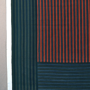 Panels of narrow stripes and narrow bands.  Printed in 7 colors.