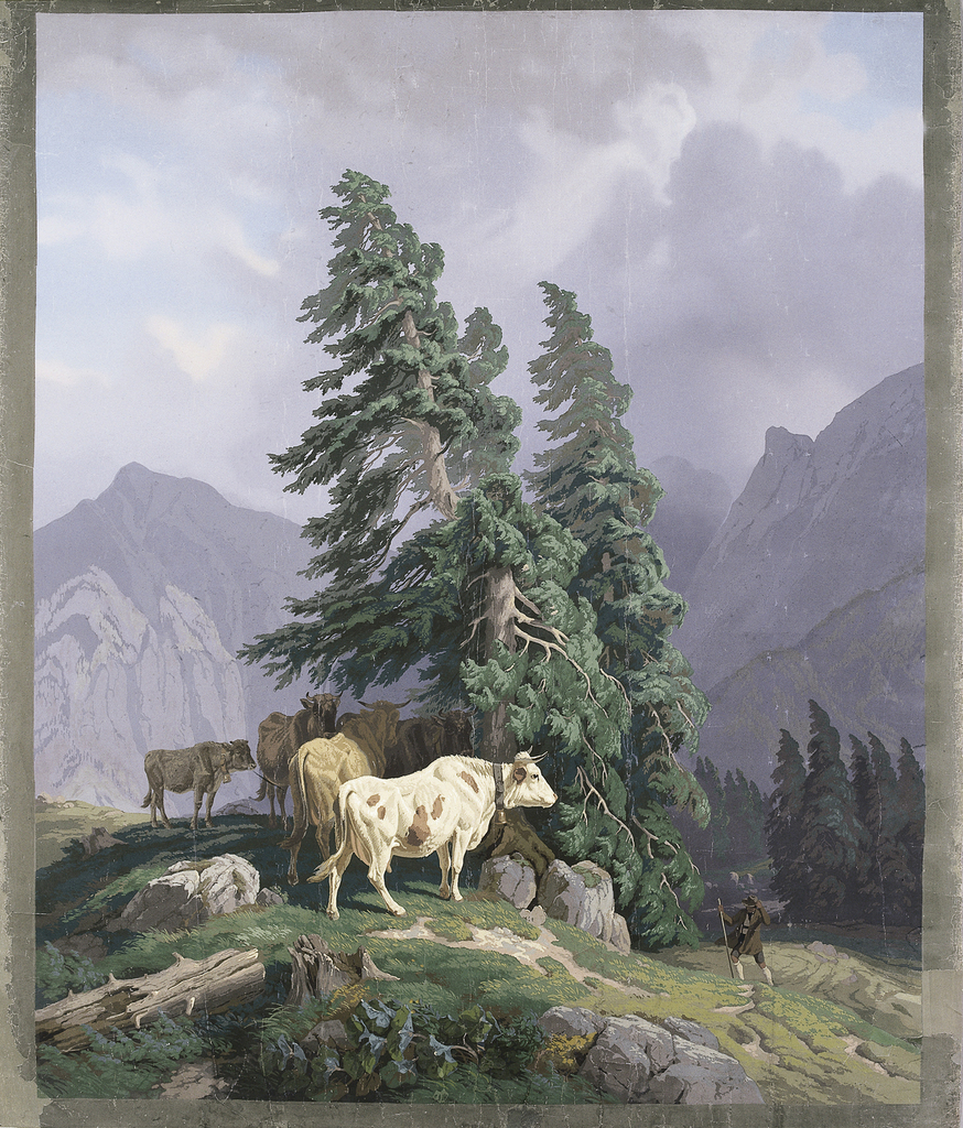 Five cows in Alpine scene with shepherd, thunderstorm drawing in distance.  The printed image is surrounded by a three inch printed gray border.