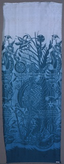Border print of underwater flora and fauna printed in deep blue-green on a shaded ground that runs from pale green on the top to deep green at the bottom.