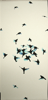 """Composed of two panels """"Indi"""" captures the spontaneous action of a flock of black birds in motion.  The main cluster of birds is near the center of the panel height.  The photographically-captured image is printed in black with blue highlights on a white textured ground."""