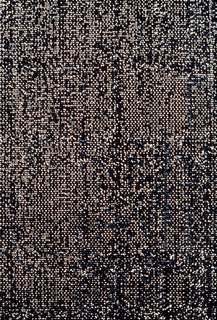 Non-woven openwork fabric with fine black verticals, alternate ones irregularly meandering