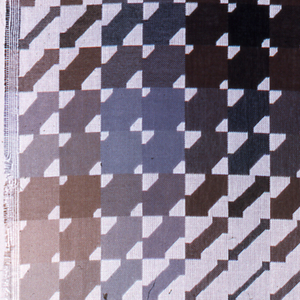 Large square in which there are 144 squares each containing a diagonal and double-ended arrow, each arrow a different thickness; with stripes and bands of changing value creates vibrating areas of density.