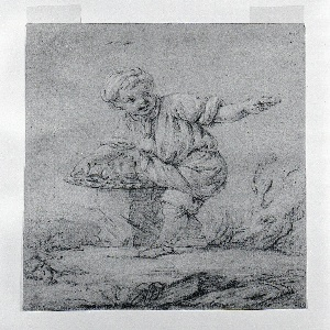 With his right hand, a boy supports a basket-tray resting on a boulder base; with his outstretched left hand he offers a biscuit (or bar of soap?).  On the basket-tray are biscuits (cakes of soap?) and bottles.  A tree trunk is in the right background.