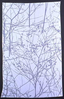 White on white, transparent/opaque pattern of tree branches on an opaque ground.