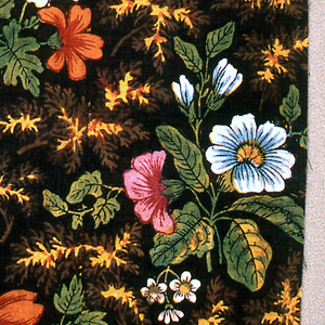 Clusters of naturalistic flowers in blue and white, pink and red, surrounded by green leaves with yellow veining on a dark brown ground.