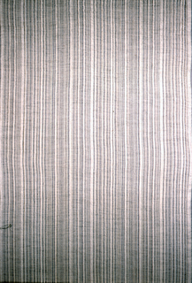 A subtle vertical pattern is created as warp-faced stripes of natural-colored cotton in various widths alternate with open weave areas which reveal the metallic wefts. Black goat hair adds further complexity to the texture and overall color effect.  Jason was originally designed in the late 1950s for the Irwin Miller House in Bloomington, Indiana, designed by Eero Saarinen, with interiors by Alexander Girard and furniture by Charles Eames. This example is a later production; the design was registered in 1978.