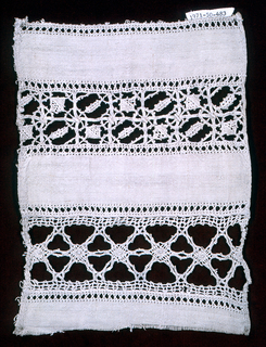 Fragment with a band of needle lace and bobbin lace