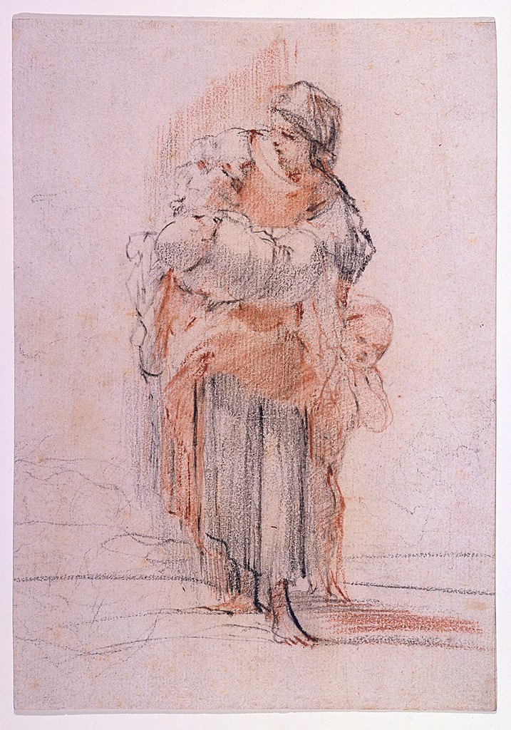 A peasant woman stands, looking to the left (her right), cradling a baby in her right arm, while a young naked child stands clinging to her left.