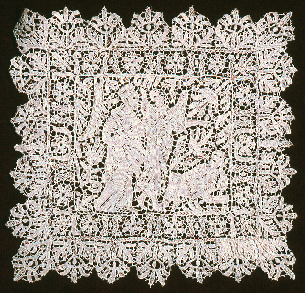 Square punto in aria needle lace chalice cover with a biblical subject, possibly Christ at Gethsemane, in the center field, surrounded by a double border of highly stylized floral forms.