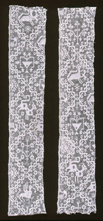 Two net borders embroidered with a design of medallions containing animals and stylized floral shapes.
