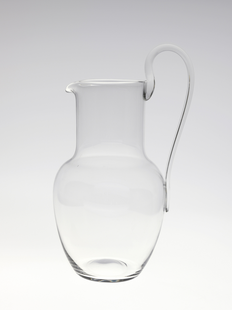 """Thinnest mouth-blown crystal (""""Muslin glass"""") water pitcher."""