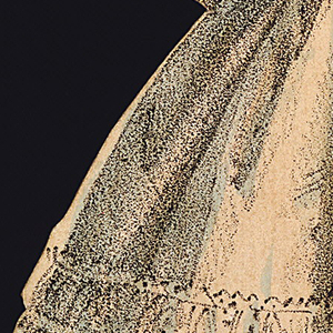 This cream colored gown has black stripes on the bodice and sleeves.  A pink sash drapes from the side, and the full skirt is has further decoration. She wears black netted gloves.  The back and front of this dress are depicted.