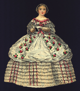 Paper Doll Costume, Paper Doll Costume in White with Red Roses