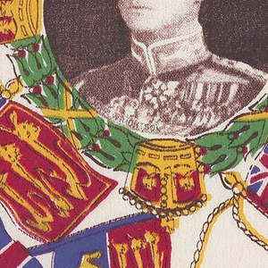 """Handkerchief printed in anticipation of the Coronation of King Edward VIII of England.  Central medallion, framed with laurel wreath and four crowns, with a portrait of the monarch. In each corner four flags with the words """"Coronation 1937"""". White ground printed in brilliant polychrome."""