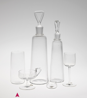 Mouth-blown, pre-molded crystal water tumbler.