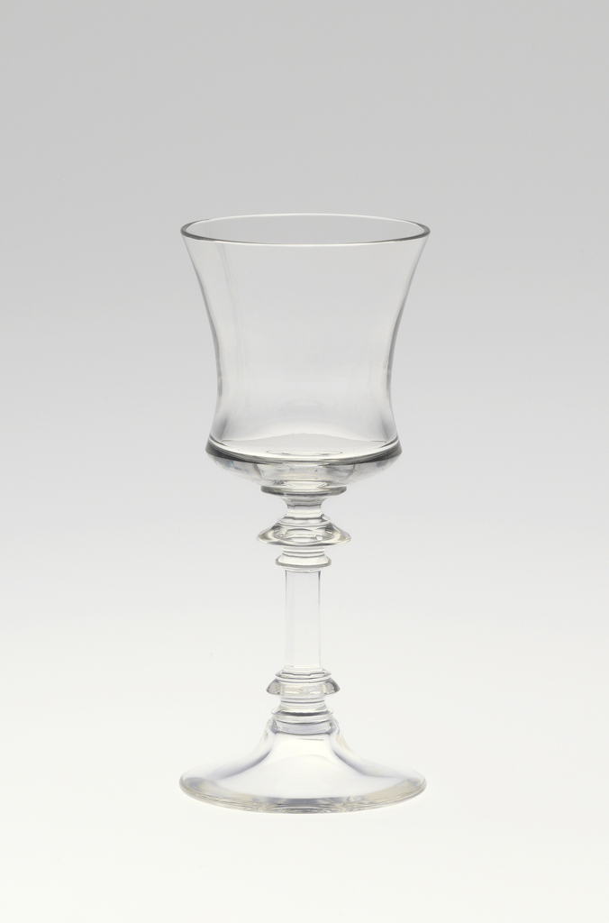 "Mouth-blown crystal sherry glass, cut and polished in the ""Greek"" style."