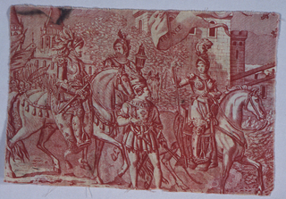 """Fragment from toile """"Jeanne d' Arc, a copper plate print. Jeanne is shown in armor, on horseback, bearing a banner with the word """"France"""". Following her are two armed horsemen, and a man on foot with the word """"CHARLE-"""" on the yoke of his shirt. Troops and castle in background."""