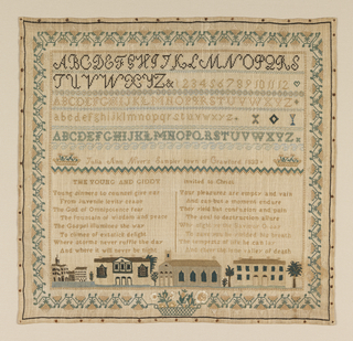 Embroidered sampler with several bands of alphabets and numerals separated by narrow geometric borders, and an inscription.