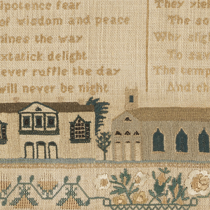 Embroidered sampler with several bands of alphabets and numerals separated by narrow geometric borders, and an inscription. In the lower half, a verse in two columns and a view of Crawford, New Hampshire; all within a stylized floral border. Embroidered in colored silks on a white linen ground.  The verse reads: THE YOUNG AND GIDDY  Invited to Christ Young sinners to counsel give ear From Juvenile levity cease The god of omnipotence fear The fountain of wisdom and peace The gospel illumines the way To climes of extatic [sic] delight Where storms never ruffle the day And where it will never be night  Your pleasures are empty and vain And can but a moment endure They yield by confusion and pain The soul to destruction allure Why slight ye the Saviour o say To save you he yielded his breath The tempests of life he can lay And cheer the lone valley of death
