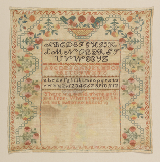An unfinished sampler with three alphabets, numerals, and an incomplete verse, with a wide floral border on three sides. Embroidered in colored silks on a white ground; the colors have run.  The verse reads:  There is a world where souls are free Where tyrants taint not natures bliss