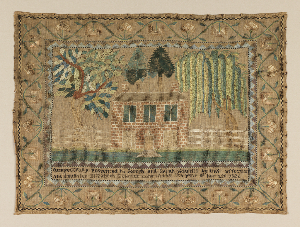 Picture format, with a large brick house and white picket fence, flanked by a weeping willow and another large tree, with trees also behind the house. Surrounded by a wide floral border. Inscription at the bottom.