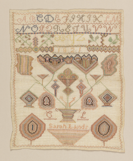 Sampler with a single alphabet at the top, and dominated by a very stylized basket of flowers. With the date 1821, the initials CL, and the name Sarah Lands.