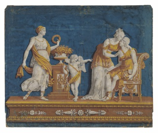Four figures upon plinth. The figures are printed in grisaille with golden robes. A tall female figure and Cupid lean against a pedestal on the left side. The figure on the far right is seated in a classic chair, while the last figure bends down to him. Printed on a deep blue ground. Mounted on a wood stretcher.