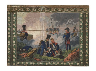 Horizontal rectangle. Battle scene, in the style of Horace Vernet. In center foreground, two infantrymen attending a wounded dog. To left, legs of a dead soldier, to right, ruined wall. In the second plane, to left, standing soldier; in center, heads and bayonets of four soldiers seen above smoke clouds, with other heads dimly indicated in background.