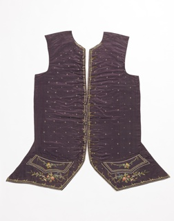 Waistcoat front (two sides) in plum-colored satin, embroidered in colored silks with all-over tiny flowers, delicate floral borders, and flower sprays on pocket flap and bottom.