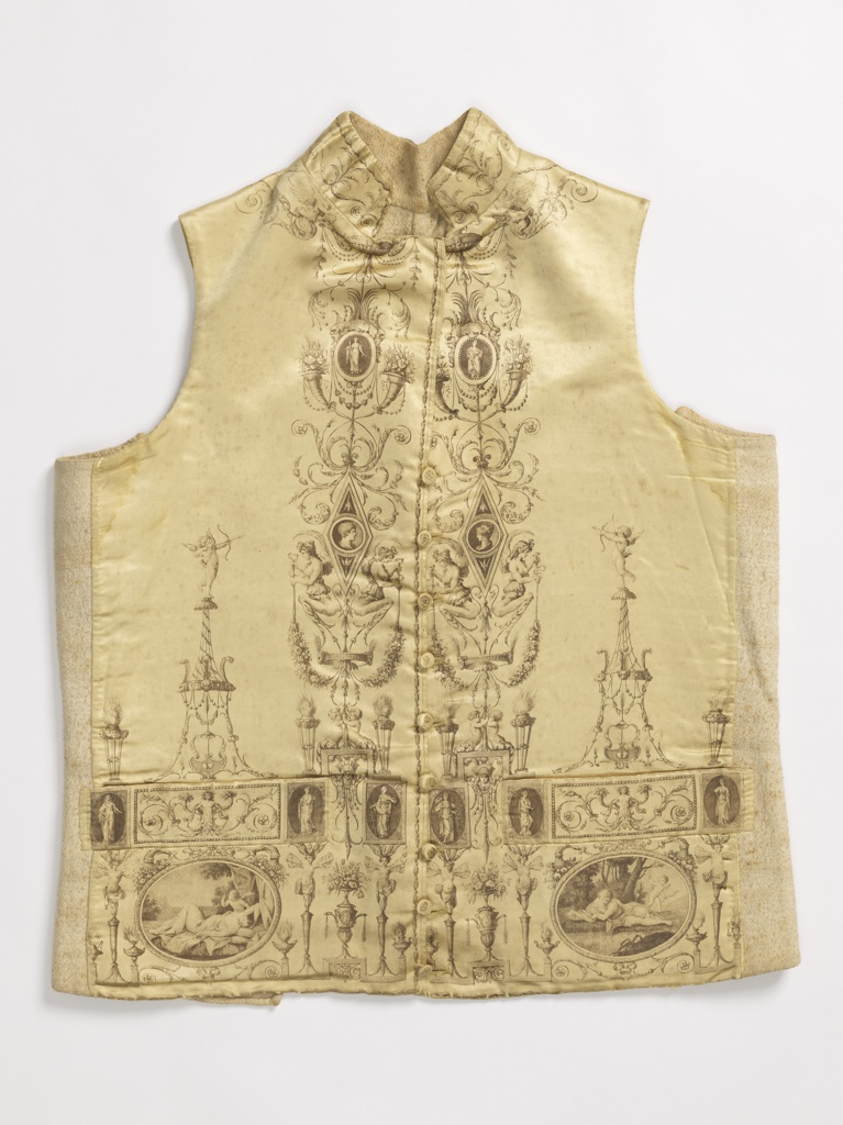Yellow silk waistcoat printed in black, with and elaborate neo-classical framing device containing scenes from mythology, portrait miniatures, and statues. The medallion on the left pocket depicts Narcissus.