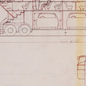Horizontal rectangle. Design for George Lawson's city system transportation network. In upper half of composition, elevation view of a double-decker bus, with figures of drivers located at the upper levels of both the front and rear of the bus. The lower level of the bus contains five small parked automobiles. At the upper level, rows of chairs for seating. Some figures sit and stand, a group of figures at right sit at a special area that includes a counter, possibly with food or drink service from the server behind the bar. Below, front and rear elevation views of the bus as well as front and side elevation views of the small vehicles that can be accommodated on its lower level.
