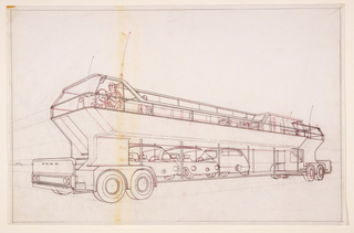 Horizontal rectangle. Design for George Lawson's city system transportation network. Oblique profile view of a double-decker bus, with figure of driver located at the front upper level. Exterior stairs permit access to the upper level. The lower level of the bus contains three small parked automobiles and two vacant stalls for other cars. At the upper level, some figures sit and stand, a group of figures at right sit at a special area that includes a counter lined with beverage bottles.