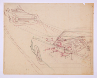 Horizontal rectangle. Design for George Lawson's Hub City transportation system. At upper left, rear view of an automobile with figures of a passenger and driver. At lower right, side view of the front portion of an automobile, with line drawings showing the machinery in the car's interior. A rectangular box mounted in front of the car's windshield seems to either sense the rear of the car in front of it or cast a light on the vehicle. One hand on the steering wheel at right edge.
